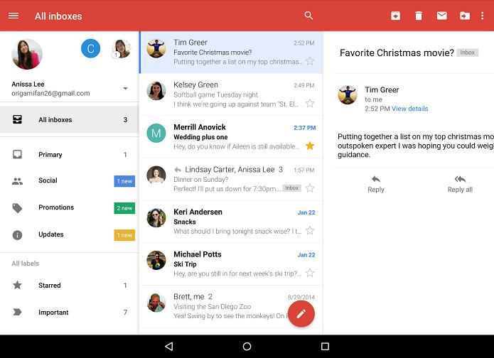 Gmail ganhou nova caixa de entrada no Android (Foto: Divulgação)