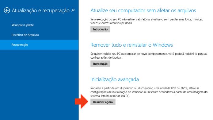 Reinicie o PC para acessar as configurações avançadas (Foto: Reprodução/Paulo Alves)
