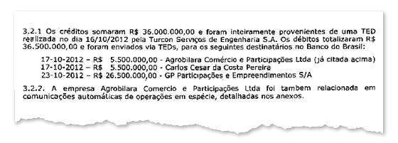 OPERAÇÃO Trecho de relatório  de investigação (acima)  e o ministro Leonardo Picciani (abaixo). O dinheiro para a empresa da família saiu de uma firma-fantasma (Foto: Reprodução)