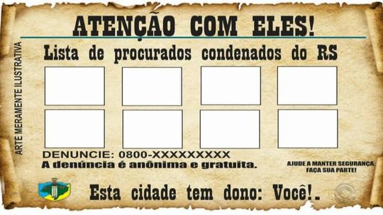 Prefeitura de Esteio planeja colar cartazes em locais públicos com fotos de condenados foragidos