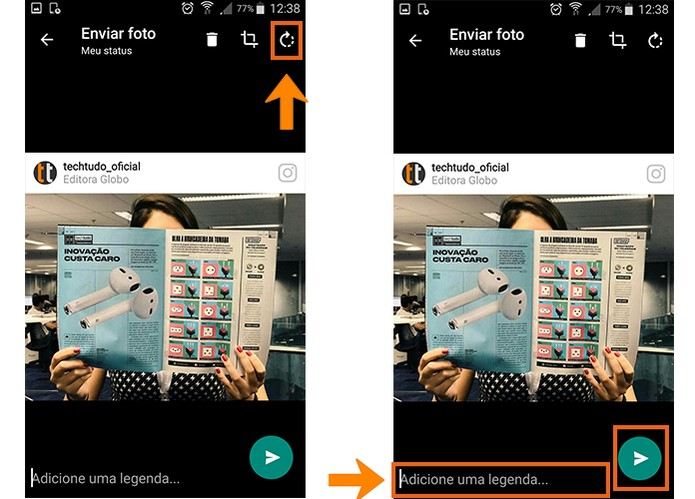 Adicione a legenda na imagem e poste no WhatsApp Status (Foto: Reprodução/Barbara Mannara)