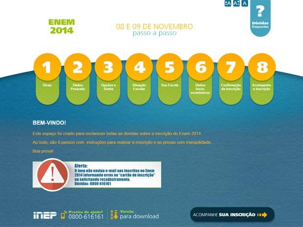 Alerta publicado no site do Enem 2014 sobre o cartão de confirmação (Foto: Reprodução/Inep)
