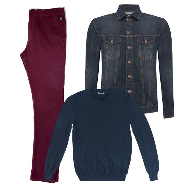 Calça Limits (R$ 259), jaqueta C&A (R$ 149,99), suéter Mineral (R$ 99,90) (Foto: Divulgação)