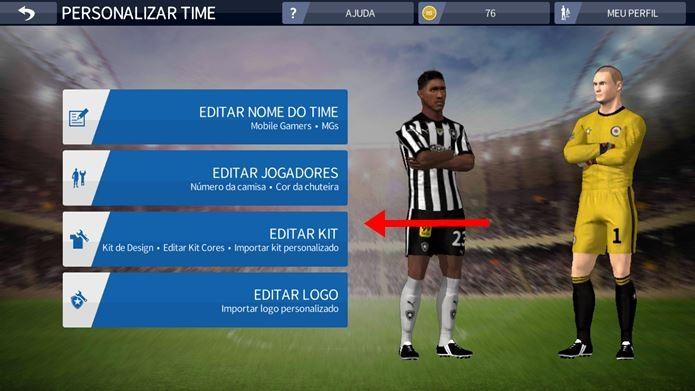 dbb4c8f901f Toque em Editar Time (Foto  Reprodução   Dario Coutinho) Dream League Soccer  ...