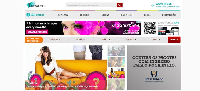 Site do ingresso.com possui programação para muitas cidades do Brasil todo (Reprodução/ Gabriella Fiszman)