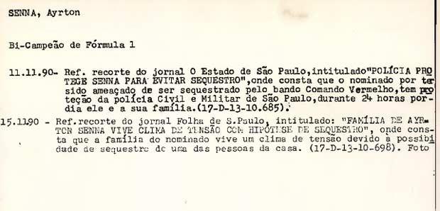 Reprodução da ficha do piloto Ayrton Senna no órgão (Foto: Reprodução)