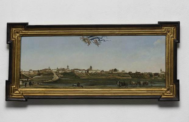 Panorama da Cidade de São Paulo, óleo sobre tela de Armand Julien Pallière, datado de 1821. É considerada uma peça rara, por ser uma das únicas a representar a cidade antes da fotografia.  (Foto: Foto/ Edouard Fraipont)