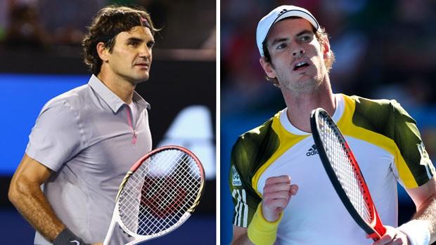Montagem - Australian Open Roger Federer e Andy Murray (Foto: Editoria de Arte / Globoesporte.com)