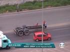 Contagem - 7h30: Caminhão perde eixo e atrapalha trânsito