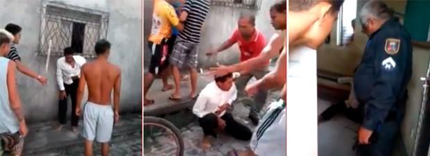 Suspeito foi espancado até conseguir correr e se refugiar em uma base da PM (Foto: Reprodução/PM)
