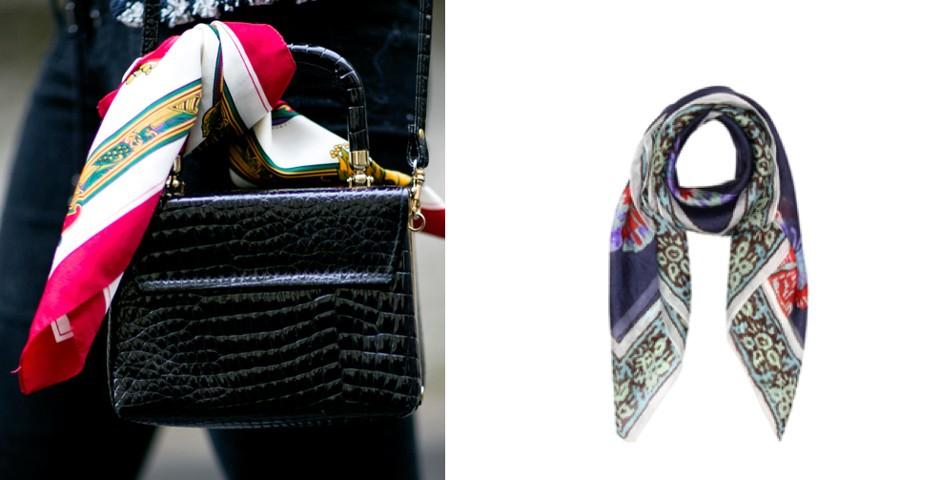 Para amarrar na bolsa, o interessante é brincar com os contrastes de cor entre o lenço e o acessório. Americanas, R$ 49,90