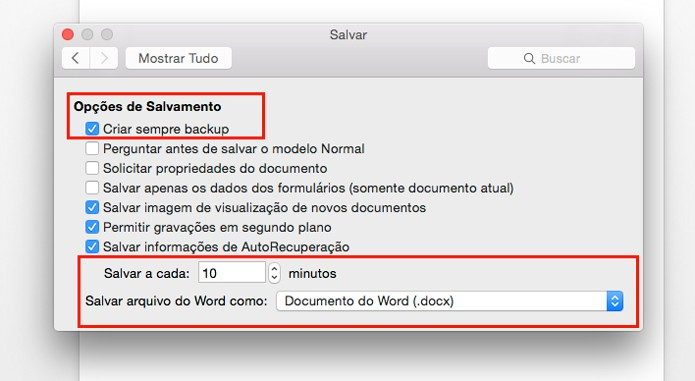 Opções para configuração de backup automático (Foto: Reprodução/André Sugai)