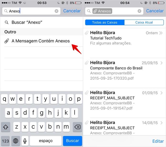Filtrando mensagens com anexo (Foto: Reprodução/Helito Bijora)