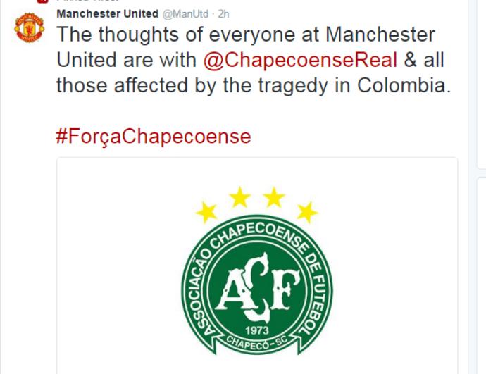 manchester united lamenta acidente da chapecoense (Foto: Reprodução Twitter)