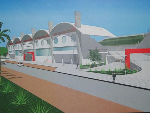 Maquete do novo estádio do Nacional-MG (Foto: NAC / divulgação)