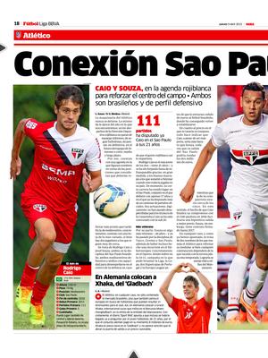 Atlético de Madri está de olho em Rodrigo Caio e Souza, do São Paulo, segundo o jornal espanhol Marca (Foto: reprodução)