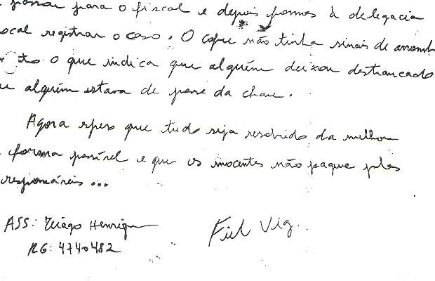 Vigilante e suposto serial killer Tiago da Rocha escreveu relatório sobre desaparecimento de arma que ele furtou, em Goiânia Goiás (Foto: Divulgação/Polícia Civil)