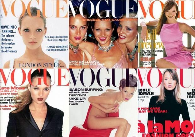 1- Vogue Paris Março 1999 / 2- Vogue Londres Abril 1999 / 3- Vogue Londres Fevereiro 2000 / 4- Vogue Londres Março 2000 / 5- Vogue Londres Setembro 2000 / 6- Vogue Londres Dezembro 2000 (Foto: Reprodução)