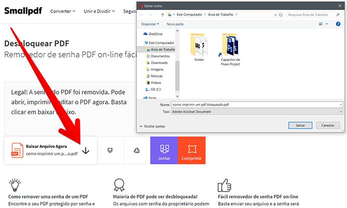 Clique no botão representado pela seta para baixo para salvar o novo arquivo (Foto: Reprodução/Filipe Garrett)