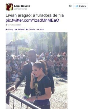 Livian Aragão no show de Demi Lovato (Foto: Reprodução/Twitter)