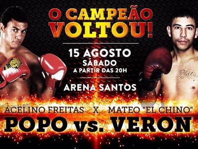 Cartaz divulgando a luta entre Popó e Veron, em Santos (Foto: Divulgação)