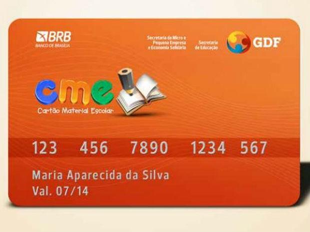 Cartão Material Escolar distribuído pelo governo do DF em 2013 (Foto: GDF/Divulgação)