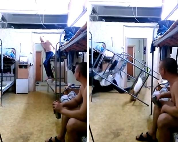 Homem levou tombo feio ao tentar saltar de beliche em dormitório na Rússia (Foto: Reprodução/YouTube/AbleToReach)