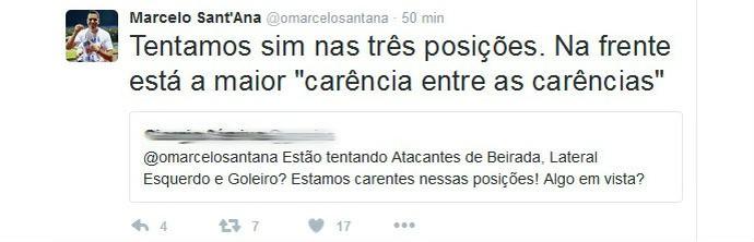 Sant'Ana fala de busca de reforços para suprir carências no elenco do Bahia (Foto: Reprodução / Twitter)