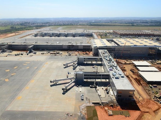 Obras do novo terminal de Viracopos em maio de 2014 (Foto: Aeroportos Brasil Viracopos)