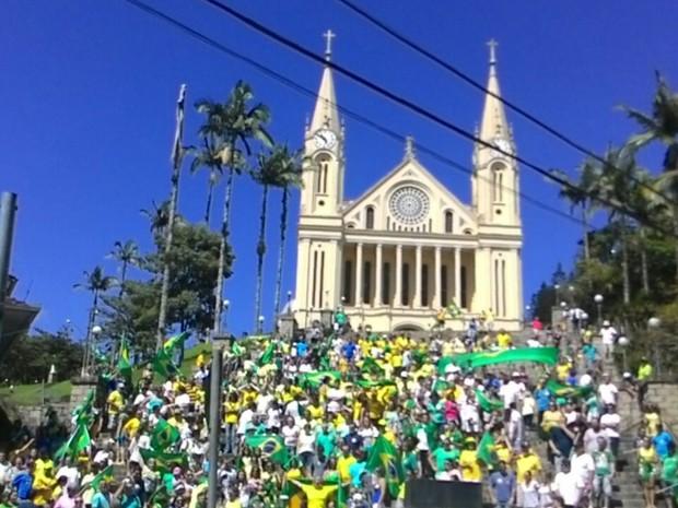 Cidade de Gaspar, no Vale do Itajaí, também registra manifestação (Foto:  Paulo Philipus/Divulgação)
