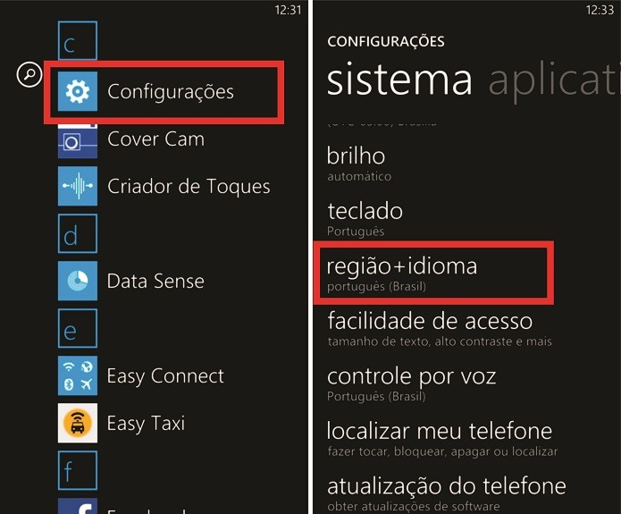 Nas configurações do Windows Phone é possível alterar o país da loja de aplicativos (Foto: Reprodução/Elson de Souza)