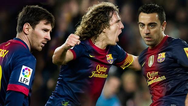 Xavi, Puyol e Messi renovam seus contratos com o Barça (Foto: Reprodução / Site oficial do Barcelona)