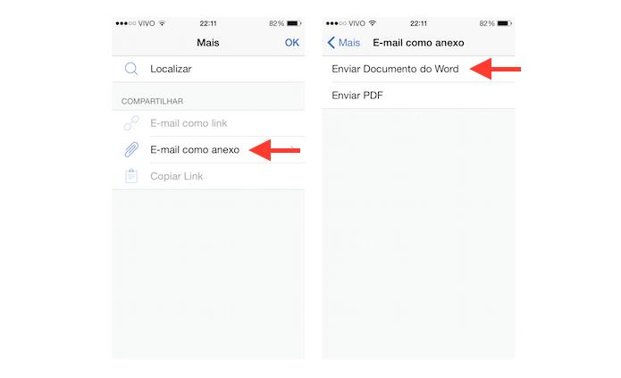Configurando o arquivo criado no Word para iOS para que ele seja enviado por e-mail (Foto: Reprodução/Marvin Costa)