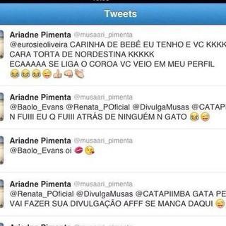 Print de discussão entre concorrenets ao Gata do Brasil (Foto: Reprodução/Twitter)