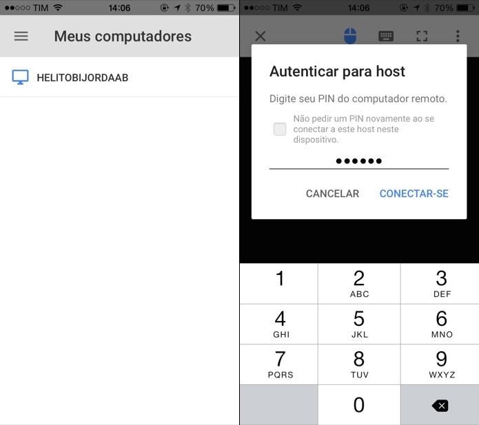 Inicie o aplicativo no celular ou tablet e toque sobre o nome do computador (Foto: Reprodução/Helito Bijora)