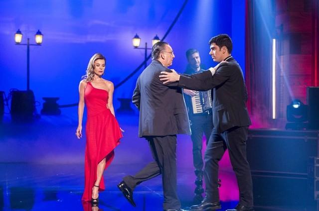 Galvão Bueno com a mulher, Desirée, e Marcelo Adnet (Foto: Estevam Avellar/ TV Globo)