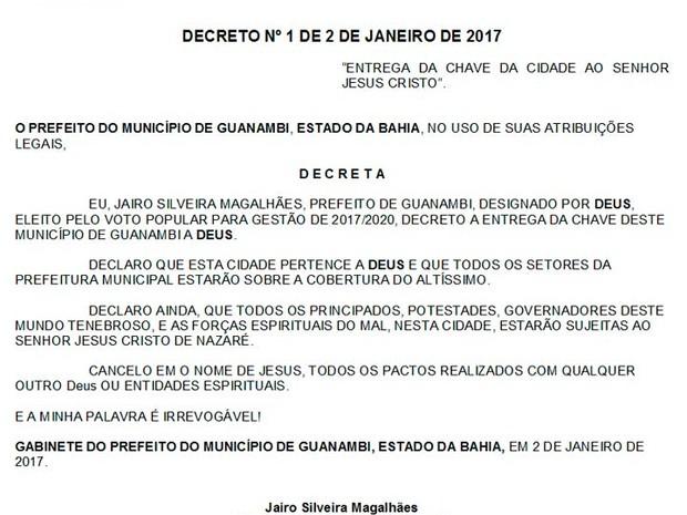 Prefeito de cidade de Guanambi, na Bahia, diz em decreto que cidade pertence a Deus (Foto: Reprodução/Diário Oficial de Guanambi)