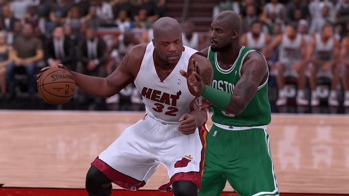 Shaq no Miami e KG no Boston: duelo de times históricos (Foto: Reprodução/Thiago Barros)
