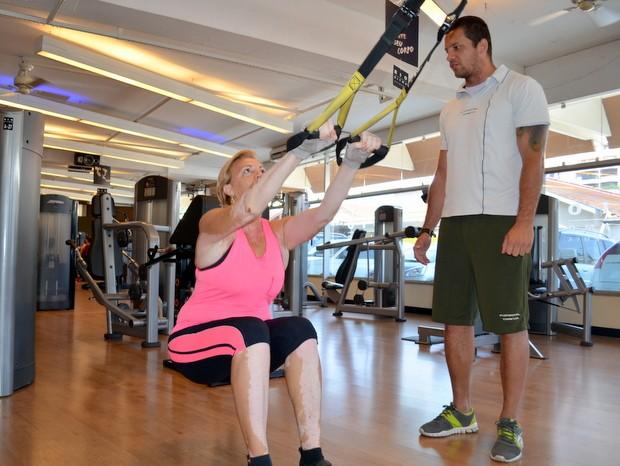Priscila durante os treinamento na academia em Piracicaba (Foto: Fernanda Zanetti/G1)