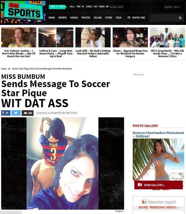 Suzy Cortez é notícia no site TMZ (Foto: Reprodução / TMZ)