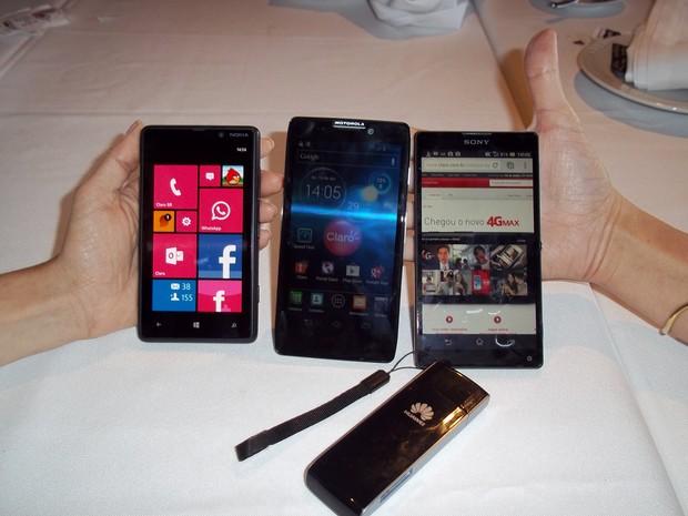 Aparelhos Nokia, Motorola e Sony 4G (Foto: Lilian Quaino/G1)