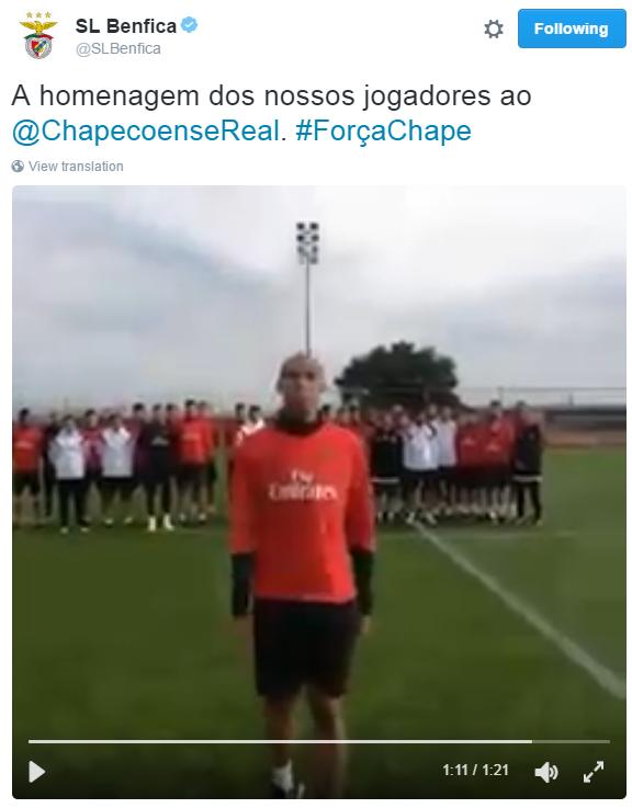 BLOG: Luisão lidera homenagem do Benfica à Chapecoense em Portugal