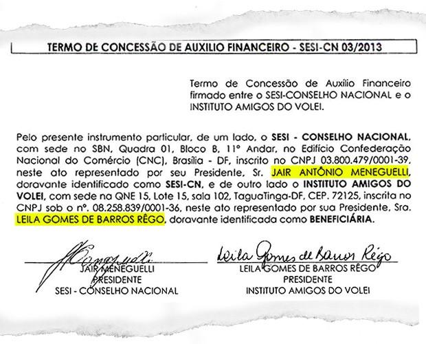 Termo de concessão de auxílio financeiro firmado entre o SESI-CONSELHO NACIONAL e o INSTITUTO AMIGOS DO VOLEI (Foto: reprodução)