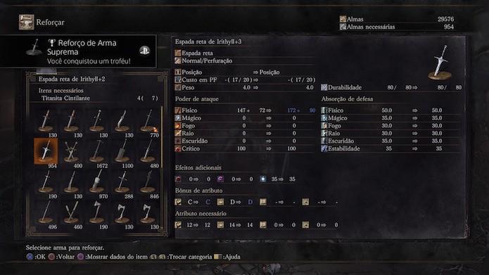 Dark Souls 3: aprimore os seus melhores equipamentos ao nível máximo (Foto: Reprodução/Victor Teixeira)