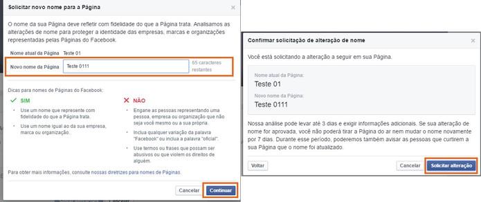 O usuário pode solicitar a mudança do nome da Página do Facebook (Foto: Reprodução/Barbara Mannara)