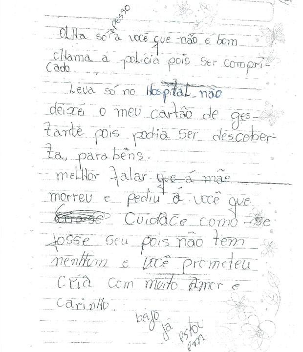 Carta da mãe de bebê encontrado no meio do mato em Niquelândia, Goiás (Foto: Reprodução/TV Anhanguera)