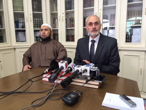 Sheikh Rodrigo Rodrigues, da mesquita do Pari e sheikh Jihad Hammadeh, presidente do conselho de ética da Uni (Foto: Will Soares/G1)