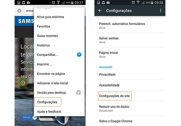 Abra as configurações no Google Chrome (Foto: Reprodução/Barbara Mannara) (Foto: Abra as configurações no Google Chrome (Foto: Reprodução/Barbara Mannara))