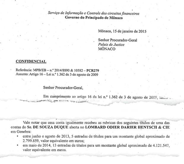 Documento do Principado de Mônaco (traduzido) (Foto: Reprodução)