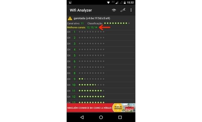 Melhores canais de Wi-Fi identificados pelo Wifi Analyzer (Foto: Reprodução/Raquel Freire (Foto: Melhores canais de Wi-Fi identificados pelo Wifi Analyzer (Foto: Reprodução/Raquel Freire)